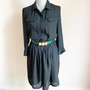 3/$25 Black button up collared long sleeve dress